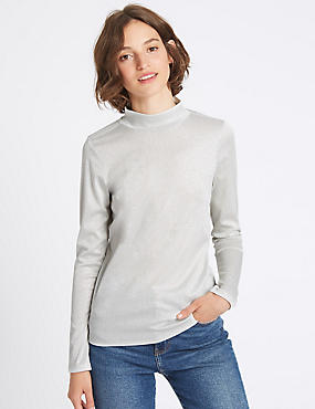 Funnel Neck Long Sleeve T-Shirt, SILVER, catlanding