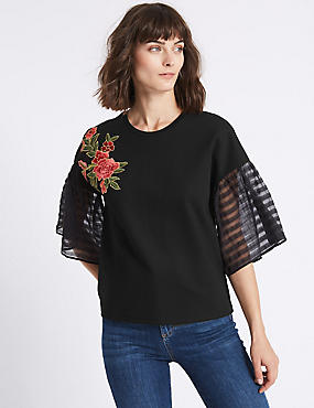 Embroidered Applique Half Sleeve T-Shirt, BLACK, catlanding