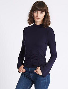 Rouched Waist Round Neck Long Sleeve T-Shirt, DARK NAVY, catlanding