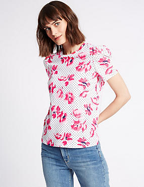 Pure Cotton Printed Puff Sleeve T-Shirt, IVORY MIX, catlanding