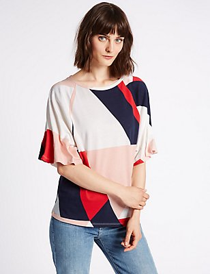 Pure Cotton Printed Pinch Sleeve T-Shirt, IVORY, catlanding