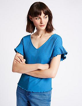 Cotton Rich Ribbed Frill Sleeve T-Shirt, BRIGHT BLUE, catlanding