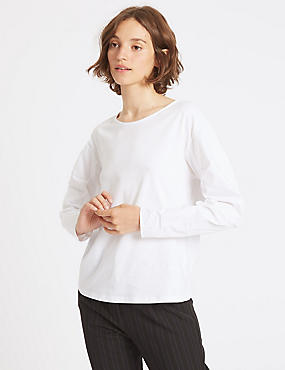 Pure Cotton Poplin Ruched Sleeve T-Shirt, WHITE, catlanding