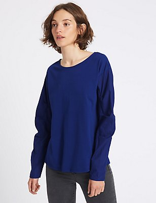 Pure Cotton Poplin Ruched Sleeve T-Shirt, RICH BLUE, catlanding