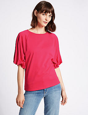 Pure Cotton Round Neck Pinch Sleeve T-Shirt, BRIGHT PINK, catlanding