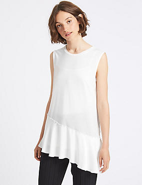 Asymmetric Hem Round Neck Sleeveless Tunic, WHITE, catlanding