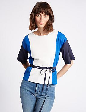 Pure Cotton Colour Block T-Shirt with Belt, IVORY MIX, catlanding