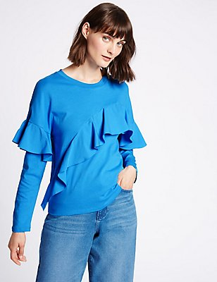 Pure Cotton Ruffle Front T-Shirt, MEDIUM BLUE MIX, catlanding
