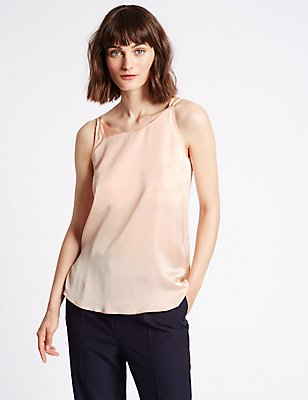 Satin Scoop Neck Vest Top, BLUSH, catlanding