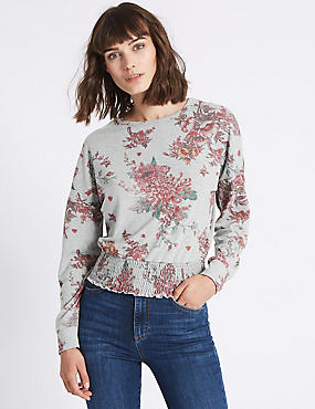 Floral Print Round Neck Long Sleeve T-Shirt, GREY MARL, catlanding