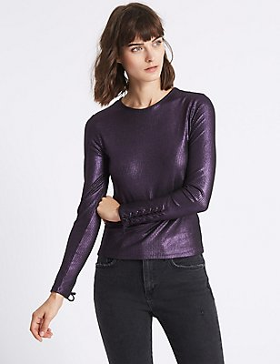Ribbed Lace Cuff Long Sleeve T-Shirt , PURPLE, catlanding