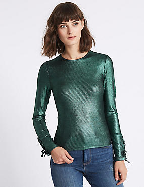Ribbed Lace Cuff Long Sleeve T-Shirt , TEAL, catlanding
