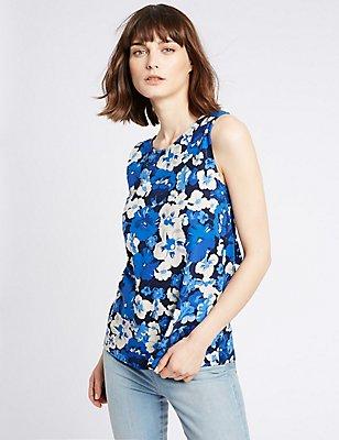 Pure Cotton Floral Print Vest Top, BLUE MIX, catlanding