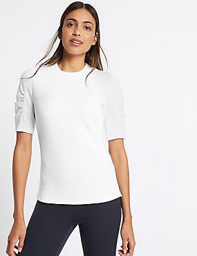 Cotton Rich Rib Ruched Short Sleeve T-Shirt, WHITE, catlanding
