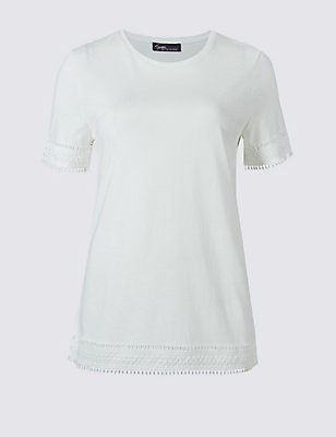 Modal Blend Lace Detail T-Shirt, IVORY, catlanding