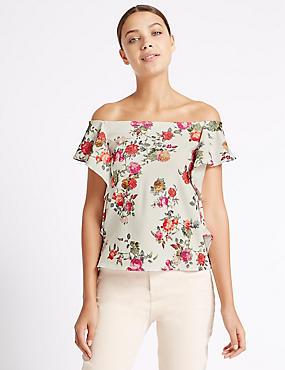 Floral Print Ruffle Short Sleeve Bardot Top, PINK MIX, catlanding