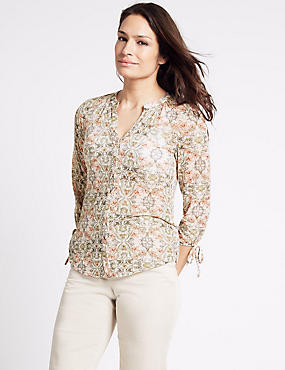 Cotton Blend Floral Print Jersey Top, PALE PINK MIX, catlanding