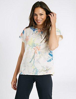 Floral Print Short Sleeve Jersey Top, IVORY MIX, catlanding
