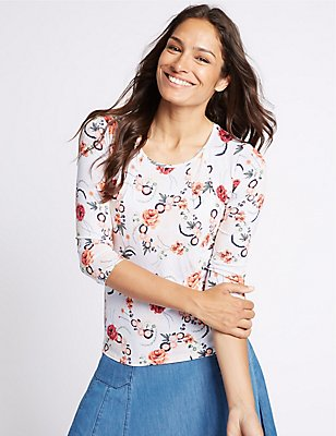 Floral Print Round Neck 3/4 Sleeve T-Shirt, IVORY MIX, catlanding