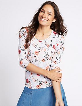 Floral Print Round Neck 3/4 Sleeve T-Shirt, IVORY MIX, catlanding