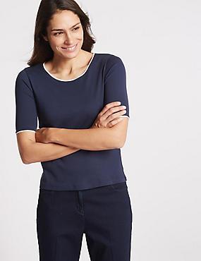 Pure Cotton Half Sleeve Jersey Top, NAVY MIX, catlanding