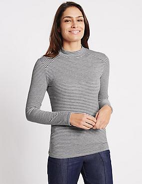 Striped Funnel Neck Jersey Top, GREY MIX, catlanding