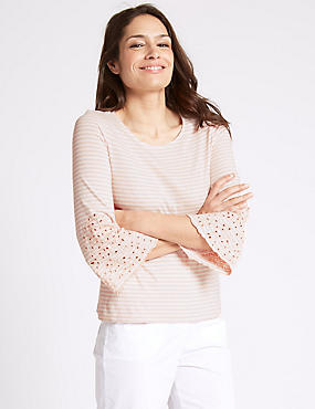Pure Cotton Striped Embroidered Jersey Top, PINK MIX, catlanding