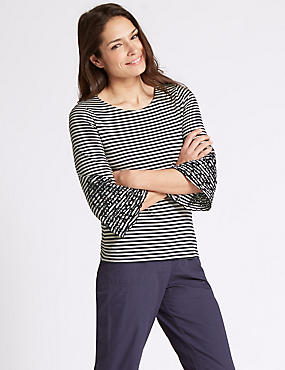 Pure Cotton Striped Embroidered T-Shirt, NAVY MIX, catlanding