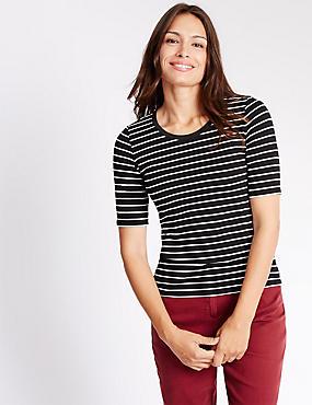 Striped Jersey Top, BLACK MIX, catlanding