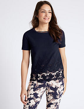 Pure Cotton Lace Short Sleeve Jersey Top, NAVY, catlanding