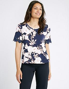 Floral Print Short Sleeve Jersey Top, NAVY MIX, catlanding