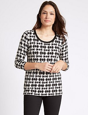 Aztec Print 3/4 Sleeve Jersey Top , BLACK MIX, catlanding