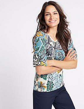 Swirl Print Flute Sleeve Round Neck T-Shirt, BLUE MIX, catlanding