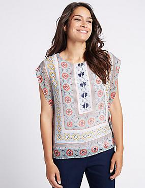 Mosaic Print Round Neck Cap Sleeve T-Shirt, IVORY MIX, catlanding