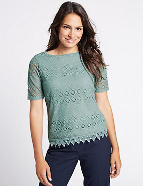 Crochet Lace Short Sleeve T-Shirt, MINT, catlanding