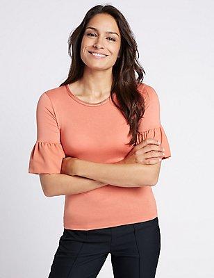 Flute Sleeve Round Neck T-Shirt, ROSE, catlanding