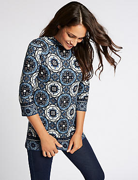Mosaic Print Round Neck 3/4 Sleeve Tunic, BLUE MIX, catlanding