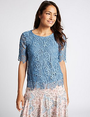 Paisley Lace Round Neck Half Sleeve T-Shirt, BLUE, catlanding