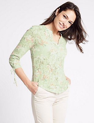 Cotton Rich Floral Print 3/4 Sleeve Blouse, MINT MIX, catlanding