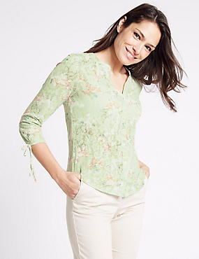Cotton Rich Floral Print Jersey Top, MINT MIX, catlanding