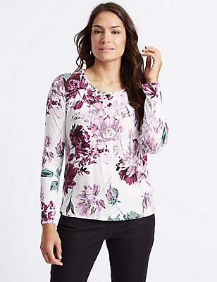 Floral Print Pleated Neck T-Shirt, IVORY MIX, catlanding