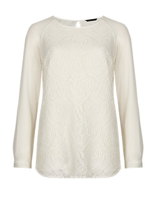 Long Sleeve Floral Lace Blouse Clothing