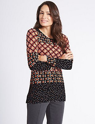 Border Print Round Neck Long Sleeve Tunic, RED MIX, catlanding