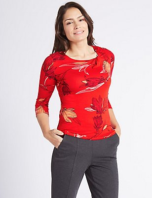 Floral Print Round Neck 3/4 Sleeve T-Shirt, RED MIX, catlanding