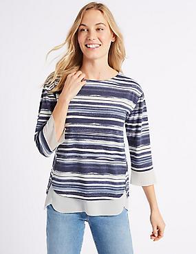 Printed Round Neck ¾ Sleeve T-Shirt  , NAVY MIX, catlanding