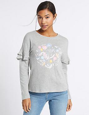 Cotton Rich Floral Print Frill Sleeve Top, GREY MARL, catlanding