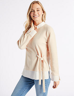 Collared Neck Long Sleeve Top, OATMEAL, catlanding