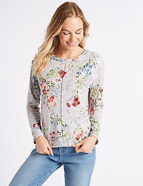 Floral Print Long Sleeve Sweatshirt, GREY MIX, catlanding