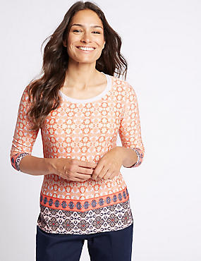 Printed Trim Neck 3/4 Sleeve T-shirt, CORAL MIX, catlanding