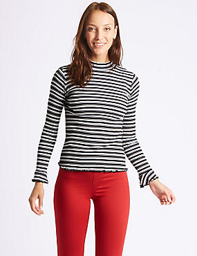 Pure Cotton Striped Long Sleeve T-Shirt, BLACK MIX, catlanding